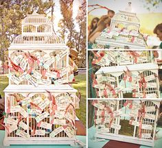 Well wishes placed in birdcage at wedding reception Daytime Wedding, Chic Wedding, Wedding Couples, Fall Wedding, Wedding Reception, Event Planning, Wedding Planning, Rustic Wedding Inspiration, Vintage Birdcage