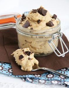 Super Secret Cookie Dough (healthy cookie dough choc chip snack... made with chick peas),