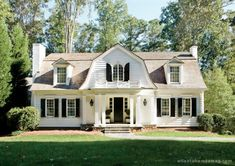 CURB APPEAL – another great example of beautiful design. Summerfield Design Blog will raise the roof: Gambrel roof with white shutters.