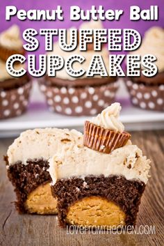 Possibly one of the best recipes ever.  Peanut Butter Ball (think Buckeyes!) stuffed cupcakes with peanut butter frosting.  SO good!