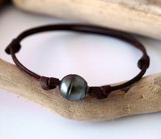 Tahitian pearls man bracelet hand rolled от MOANAtahitianpearls