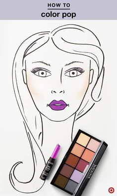 Color pop with purple in 5 minutes or less. Sweep a light purple eyeshadow from NXY Avant Pop palette across lids for a simple, yet stunning eye. Next, add a bit of bronzer to your cheeks, then top off the look with a vibrant lip using NYX High Voltage Lipstick in Twisted.