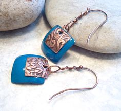 Peacock Blue Torch Fired Enamel Copper Embossed by Jewelbox2, $24.00