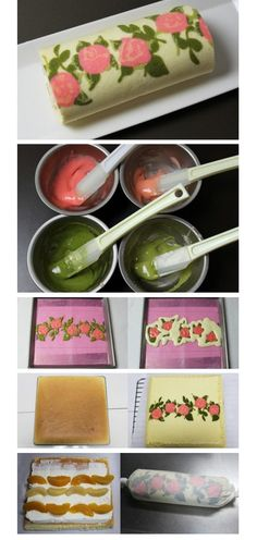 Japanese Rose Cake Roll Tutorial -- shut the front door. Look at how you can put a pattern into your cake. Japanese Cake, Japanese Sweets, Creative Cakes, Creative Food, Food Cakes, Cupcake Cakes, Sweet Recipes, Cake Recipes, Swiss Roll Cakes