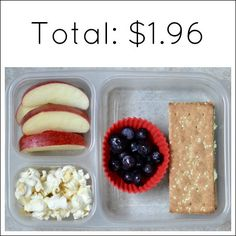 "Vanilla Almond Popcorn: $.05 for ½ cup Pesto Cream Cheese on Akmak Crackers: $.99 for 2 ""sandwiches"" Blueberries: $.50 for ⅓ cup Half an Apple: $.42"