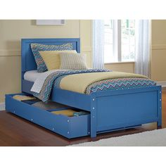 It would be nice if this was wood and came in a different color! $763 Shop for Signature Design By Ashley Bronilly Metal Blue Twin Bed with Trundle. Get free shipping at Overstock.com - Your Online Furniture Outlet Store! Get 5% in rewards with Club O!