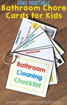 This Bathroom Cleaning Kit for Kids includes everything needed to clean the bathroom, including a Free Printable Bathroom Cleaning Checklist and flippable chore cards. This simple DIY idea will help kids clean the bathroom and lower mom's nagging. What a lifesaver!