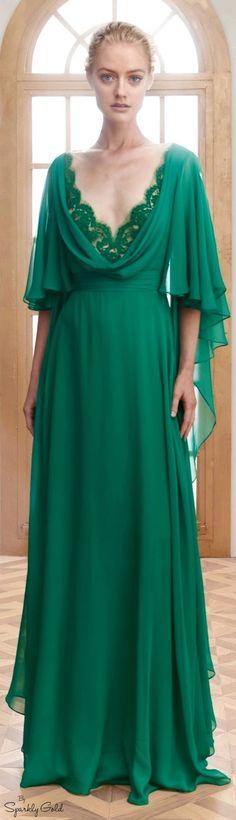 Silk Chiffon Caftan Gown by Reem Acra for Preorder on Moda Operandi Fashion Week, High Fashion, Fashion Show, Fashion Design, Style Vert, Style Haute Couture, Costume, Green Fashion, Beautiful Gowns