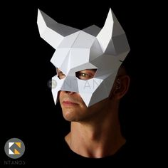 DEVIL Mask Make this easy mask for Halloween with this PDF image 5 Paper Glue, 3d Paper Crafts, Paper Toys, Mascaras Halloween, Halloween Masks, Paper Mask, Paper Artwork, Cosplay, Mask Design