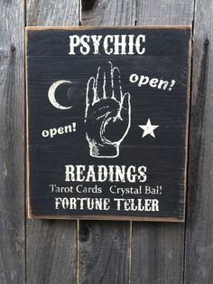 Psychic Readings Fortune Teller Wood Sign by LuckyArmadillo, $14.99