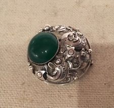 NE From Denmark Sterling Silver 925S Green Chalcedony Fish Pin