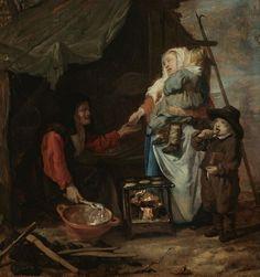 Oude vrouw verkoopt pannenkoeken aan een moeder met kinderen, toegewezen aan Gabriël Metsu
