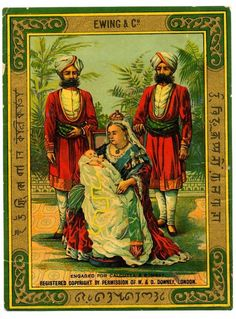 Early C20th chromolithograph label designed in India, printed in Britain, and then returned to India to be attached to cloth for subsequent sale in the bazaars. Depicts Queen Victoria with child and Indian servants.