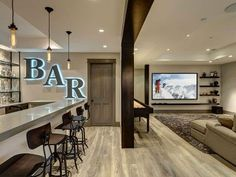 Bar entertainment room ideas drive basement home decor basement basement remodeling and basement flooring home decorators Basement House, Basement Bedrooms, Basement Flooring, Basement Bathroom, Modern Basement, Basement Walls, Man Cave Basement, Basement Layout, Basement Kitchen