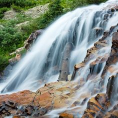 Cascading waterfall in the Rocky Mountains, Colorado
