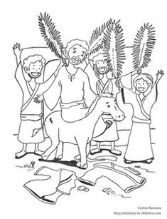 this free coloring sheet shows jesus riding into jerusalem on a donkey for palm sunday