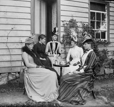 Five Victorian ladies gather for a spot of afternoon outdoor tea. #tea #party #Victorian #women #woman #dress #dress #1800s #hat