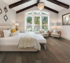 """Who doesn't love a cozy bedroom remodel? Check out our Farmhouse Chic 6 1/2"""" Handscraped Maple Hardwood in Gather to give your bedroom floors some extra charm! The medium-high variation in this hardwood is sure to impress! It retails starting at $4.99 SQ FT."""