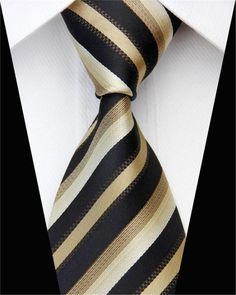 "New Polyester Woven Men/'s 2.5/"" slim necktie Wedding Stripes mocca brown Prom"
