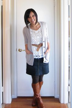 Cute cool weather skirt look: denim skirt, checked scarf, cream ...