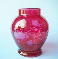Gorgeous Antique Floral Etched Cranberry Glass Vase by parkledge on Etsy