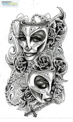 My Theatre Tattoo! I'm getting the masks (unsure of the coloring that I want for them yet) but instead of the roses around them and the rosary bead, I am going to have the blue flowers (see the Flower Pin) and some sort of vine going around them, connecting them.