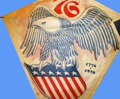 Vintage 1970s United States Bicentennial paper kite. Get that patriotic message high in the sky.