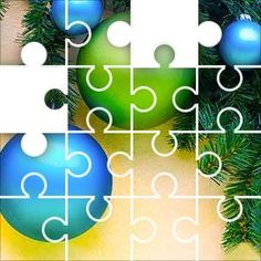 Bobbles Blue Green Jigsaw Puzzle, 48 Piece Classic. Holiday decorations on pine tree, blue and green baubles and