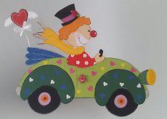 Fensterbild Clown auf Tour - Fasching- Karneval-Dekoration - Tonkarton!