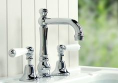 Brodware Neu England Basin Set With Porcelain Levers for that traditional bathroom look Bathroom Tapware, Manufacturing Engineering, Kitchen Supplies, Kitchen Ideas, My Ideal Home, Display Homes, Traditional Bathroom, Door Knobs, Basin