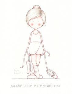 with dangling ballet shoes Les petites scénettes Illustration Mignonne, Cute Illustration, Child Draw, Art Fantaisiste, Image Deco, Art Mignon, Cute Clipart, Cute Images, Whimsical Art