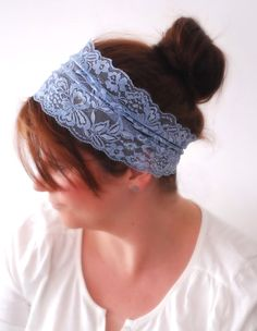 Lace Hair Band Beau BLUE Lace Headband Simple by stunninglooks, €7.00