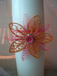 Scroll paper quilled flower unity candle by dimensionsquilling