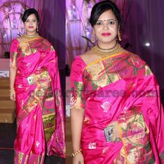 Bright Pink Kanjeevaram Saree - Saree Blouse Patterns