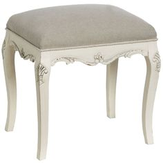 SHABBY CHIC CREAM DRESSING TABLE STOOL UPHOLSTERED FRENCH STYLE