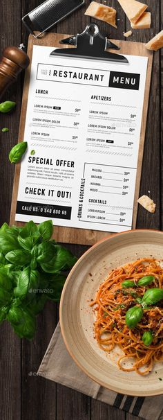 Minimal restaurant food menu — Photoshop PSD #italian #food • Available here ➝ https://graphicriver.net/item/minimal-restaurant-food-menu/20573989?ref=pxcr