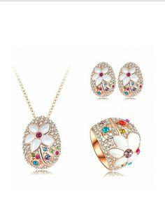 AnaZoz Joyería de Moda Juego de Flor 18K Chapado en Oro Rosa Cristal Colgante Collar/Pendiente/Anillo