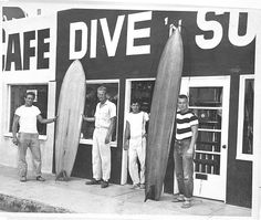 Dale Velzy, Hap Jacobs, Bill Meistrell, Bev Morgan in front of the original Dive 'N Surf shop, 1950's. - See more at: http://www.southbaydigs.com/looking-back-body-glove/#sthash.lv6VpEA2.dpuf
