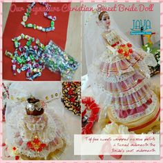 The sweet tucked underneath the lace skirt. Bride Dolls, Lace Skirt, Tray, Sweets, Chocolate, Rose, Handmade, Sweet Pastries, Pink