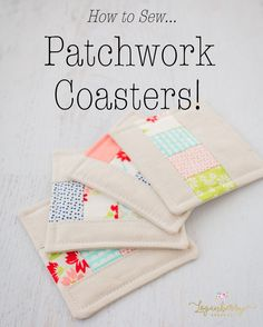 linen patchwork coasters sewing tutorial