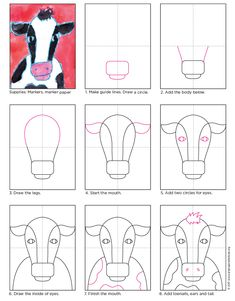 Paint a Cow Face · Art Projects for Kids This cow head drawing is pretty simple and symmetrical, making him or her a good candidate for fun watercolor painting. Art Lessons For Kids, Projects For Kids, Art For Kids, Children Art Projects, Class Art Projects, Cow Painting, Painting For Kids, Watercolor Painting, Cow Drawing