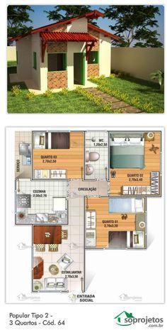 Residência de 3 dormitórios e 1 banheiro. Sala de estar e jantar conjugados. Cozinha e área de serviço.