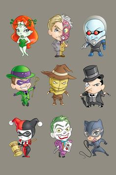 Batman villains poison ivy,two-face,Mr. freeze, riddler, scarecrow, penguin, harley quinn, joker, catwoman
