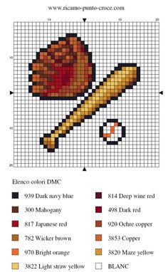 Miniature baseball equipment pattern / chart for cross stitch, crochet, knitting, knotting, beading, weaving, pixel art, micro macrame, and other crafting projects.