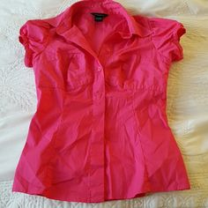 Victoria's Secret Hot Pink Blouse New  bought online Victoria's Secret Tops Button Down Shirts