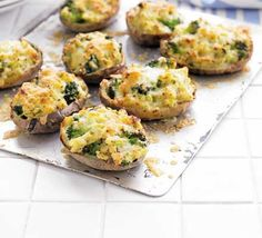 Broccoli baked potatoes. Put a new spin on the classic baked potato with this quick and tasty recipe