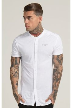 Stephen James for Illusive London Grandad Collar Shirt, Grandad Shirts, Boys T Shirts, Collar Shirts, Black Button Up Shirt, Stephen James, Androgynous Fashion, Business Casual Outfits, Mens Fashion Suits