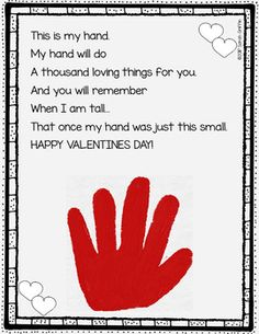 Valentine& Day Handprint Keepsake Poem for Kids is part of Kids Crafts Room Mother& Day Perfect for a parent or family gift from the kids! This Valentine& Day Handprint Poem will be adorabl - Funny Valentine, Roses Valentine, Valentines Day Poems, Kinder Valentines, Valentines Day Activities, Printable Valentine, Valentines Day Bulletin Board, Free Printable, Valentine Party