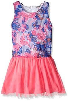 Kensie Big Girls Print and Solid Dress with Tulle Covered Skirt Pink 8 -- Read more reviews of the product by visiting the link on the image.