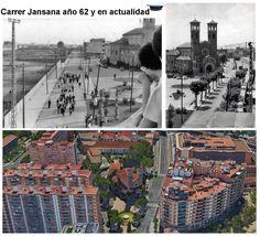 Parroqui de Santa Eulália de Provençana, carrer Jansana y Santa Eulália, año 1962 y en la actualidad.
